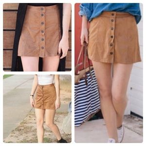 American Eagle Faux suede Snap closure mini skirt